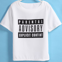 White Short Sleeve ADVISORY Print Graphic T-Shirt