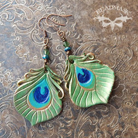 Shimmering Green Peacock Eye Leather Feather Earrings
