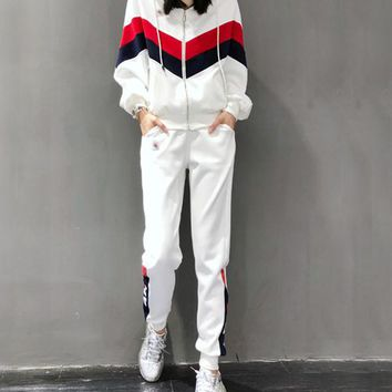 """""""FILA"""" Woman's Leisure Fashion Letter Printing  Stripe Spell Color Long Sleeve Tops Trousers Two-Piece Set Casual Wear"""