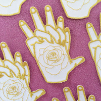 Don't Leave - Holding Hands Embroidered Iron On Patch - Sew On Badge White & Gold