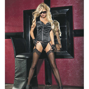 Stretch Satin Zipper Front Corset W-removable Garters & G-string Black