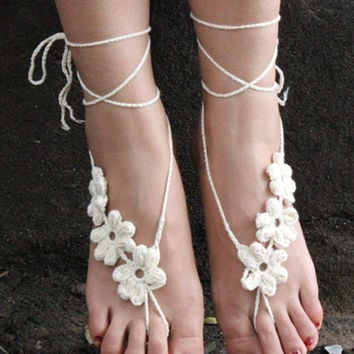 White Side Floral Crochet Toe Ring Barefoot Sandals