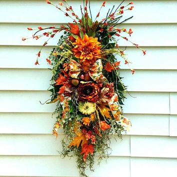 Fall wreaths for front door, Fall wreath swag, rustic fall wreath, fall door swags, teardrop swag, Autumn swags, vertical swags, fall decor