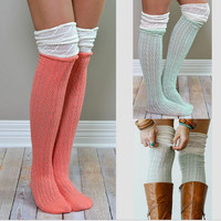 Winter Warm Knitted Cutout Knee Socks