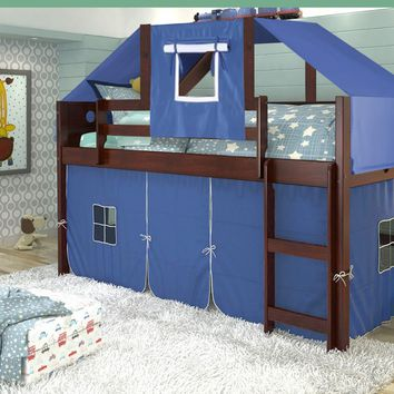 Tristan Loft Bed with Blue Fort and Tent