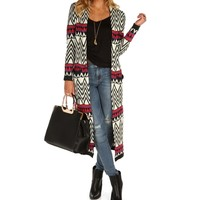 Sale-beige Chevron And Tribal Long Cardigan