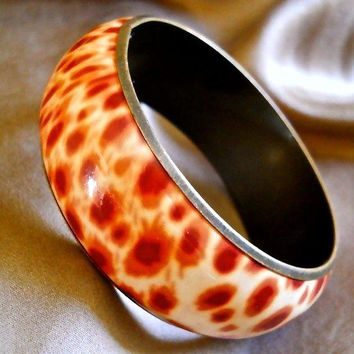 Enamel Animal Print Brass Bangle Bracelet, Cheetah, Vintage