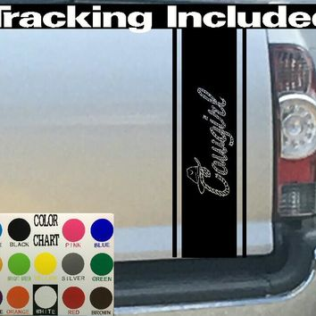 Cowgirl W/ Rope & Hat Pin Stripes Truck Bed Stripe Decal Sticker 4x4 Diesel Truck SUV