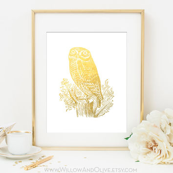 OWL - ROCK OWL Faux Gold Foil Art Print