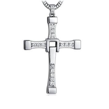 Men's Pure 925 Sterling Silver Cross Necklace Fast & Furious Toretto's Cross Chain Necklace 22""