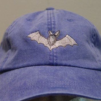 BAT HAT - One Embroidered Wildlife Cap - Price Embroidery Apparel - 24 Color Caps Available