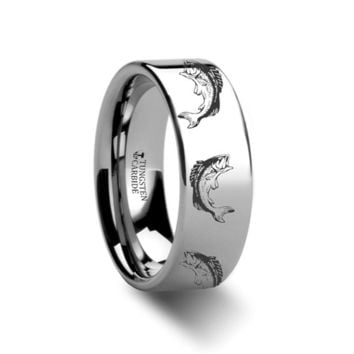 Sea Bass Fishing Engraved Tungsten Ring