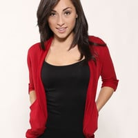 Fashion Open Sweater-Red Quarter Sleeve Cover Up- Women's Open Cardigan