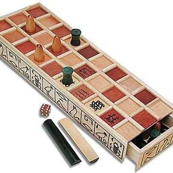 Senet Ancient Egyptian Wood Game with Pullout Drawer 16L