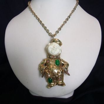 ART Vintage Smiling Laughing Buddha Faux Ivory & Jade Glass Rhinestone Gold Plate Pendant Necklace