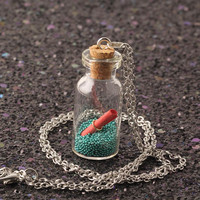 2017 Silver-color Chain Cute Glass Wishing Bottle Pendant Necklaces Special Gift Women Jewelry Long Necklace Love Letter  NS2197