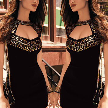 High Neck Hollow Out Black Mini Dress with Gold Studs