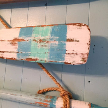 Vintage Oar Paddle Headboard KING or QUEEN Size Beach House Style Wall Art Coastal Nautical by CastawaysHall - Ready to Ship