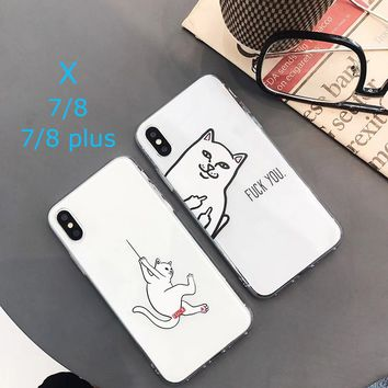 Funny Mobile Phone Case Printed Cat and Middle Finger Phone Case TPU Back Cover for IPhoneX IPhone7/8 7/8plus