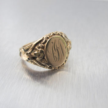 Art Nouveau Signet RIng, Nude Woman Figural Rose Gold Filled Ring, Antique Men's Jewelry, Size 9 Monogrammed Jewelry, Gifts For Him