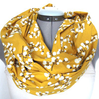 Infinity Scarf // Floral // Golden Cotton Blossom