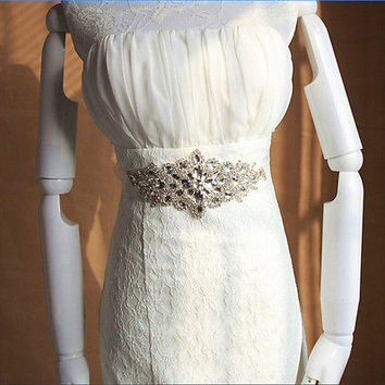 Handmade Crystals Diamond Rhinestone Bride Wedding Sash Belt HU