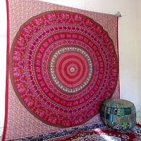 LARGE indian mandala pink tapestry wall hanging hippie bedding throw bedspread boho bohemian ethnic elephant mandala wall decor