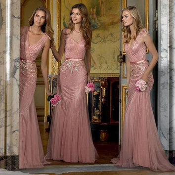2016 Beautiful Blush Pink Bridesmaid Dress with Ribbon Sash Floor Long Shiny Beaded Sequined V Neck Mermaid Wedding Party Dress