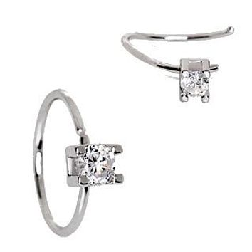 316L Stainless Steel Prong Set CZ Nose Hoop