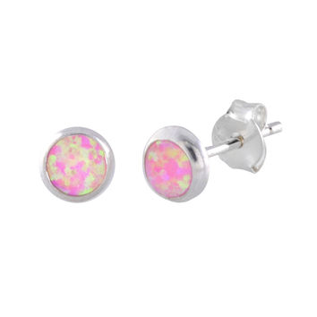Womens Opal Earrings Round Iridescent Pink Sterling Silver Studs 6mm Circle