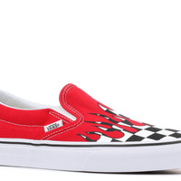 "Classic Slip-On ""Checker Flame"" - Vans - VN0A38F7RX5 - racing red 