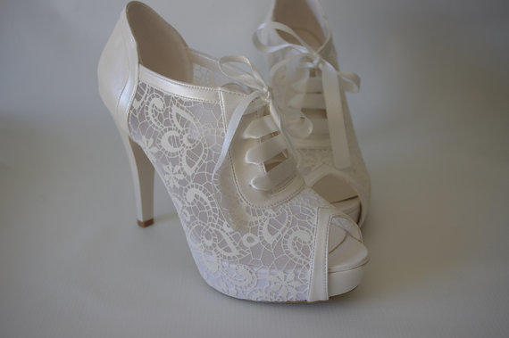 Lace Bridal Wedding Pear White Shoes 8445 From
