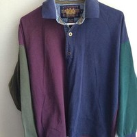 90s ralph lauren color block rugby shirt