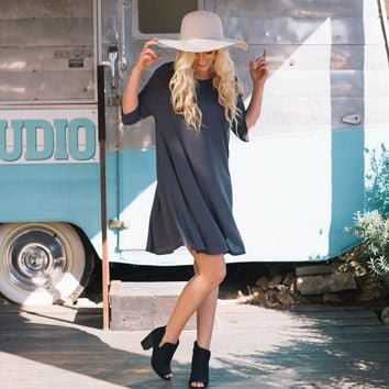 Swing Into Fall Jersey Dress in Charcoal