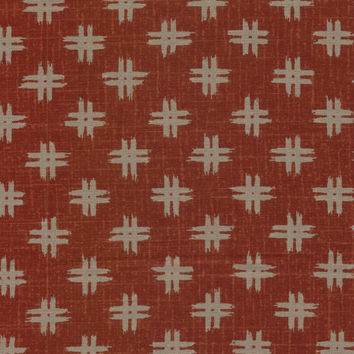 Well Curbs Red and Tan Japanese Cotton Quilting Fabric KW-3650-4C