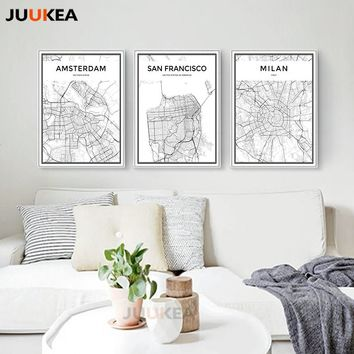 Large Size Black White World City Map Canvas Print Poster Amsterdam San Francisco Milan Paris Wall Art Picture Living Room Decor