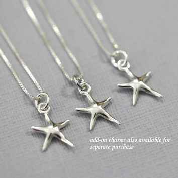 Set of 3 Bridesmaid Gift, Tiny Sterling Silver Starfish Necklace, Sterling Silver Starfish Pendant on Fine Sterling Silver Necklace Chain