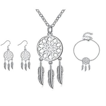 Christmas Necklace and Earrings Set Women Dangling Feather Native American Tribal Filigree Dreamcatcher Pendant Chain Necklace