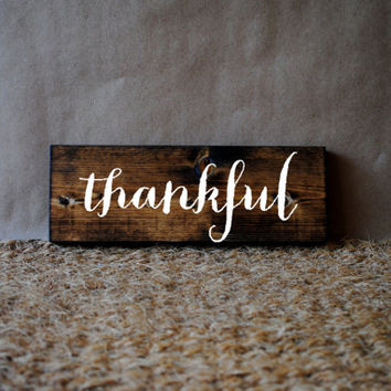 THANKFUL // Inspirational Quote Wooden Sign