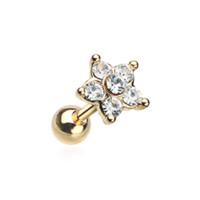 Golden Starburst Sparkle Flower Cartilage Tragus Earring Helix 18ga Body Jewelry Surgical Steel