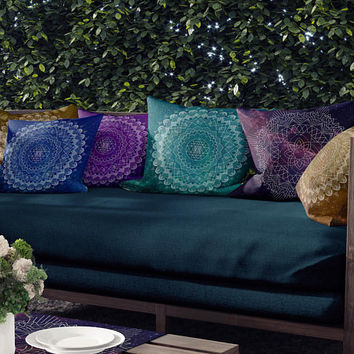 Mandala Throw Pillow, Mix and match blue, teal, gold, Purple or Burgundy jewel tone cushions