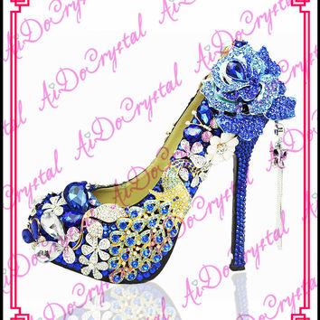 Aidocrystal famous brand Elegant rhinestone peacock blue wedding high heels evening shoes with stone