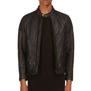 Diesel Black Leather Quilted Laleta Jacket