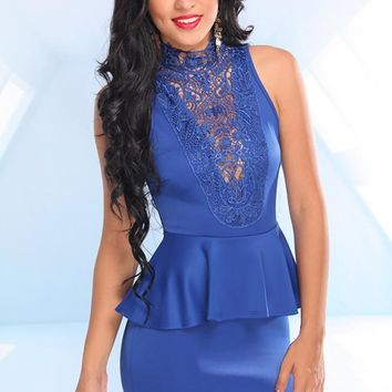 Royal Blue Peplum Dress with Lace Crochet Neckline