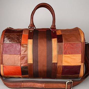 Genuine Real cowhide Leather Duffle Travel Luggage Suitcase Messenger Shoulder Tote Bag 803165