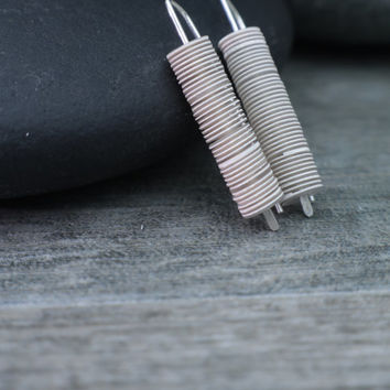Minimalist Earrings Vintage Fusion Style Understated Jewelry Pure French White Pale Smoke Grey Subtle Stripes Sterling Silver Industrial Zen