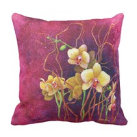 Orchids Among The Willow Pink Pillow