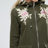New Look Petite Embroidered Parka Jacket at asos.com