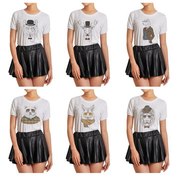 Women Animal Retro Style Graphic Printed Short Sleeves T- Shirt WTS_07