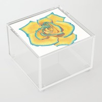 Yellow and Turquoise Rose Acrylic Box by drawingsbylam